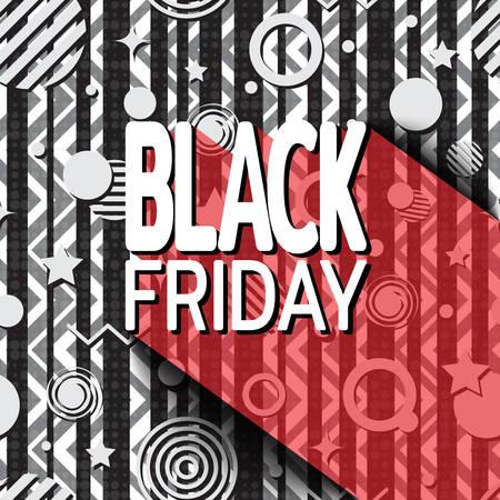Black friday sale banner on background of geometric shapes. Template for use on flyer, poster, booklet. Vector illustration Иллюстрация