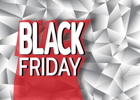 Black friday sale banner on background from polygonal shapes. Template for use on flyer, poster, booklet. Vector illustration