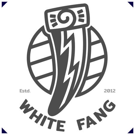 White Fang. Template emblem for sport or kids clothes, t-shirt decor. Vector illustration