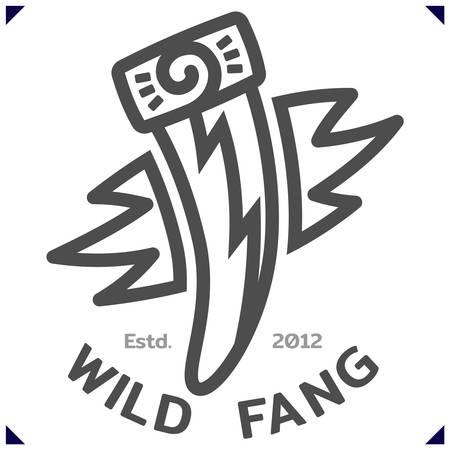 Wild Fang. Template emblem for sport or kids clothes, t-shirt decor. Vector illustration