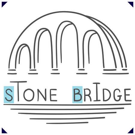 Stone Bridge.   template in sketch. Simple design for emblem. Vector illustration Çizim