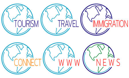 Tourism icons set with globe outline. Template for headlines of media articles. Vector illustration
