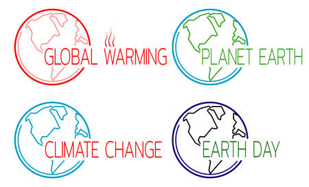 Ecology and climate icons set with globe outline. Template for headlines of media articles. Vector illustration