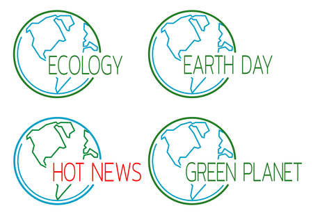 Ecology icons set with globe outline. Template for headlines of media articles. Vector illustration