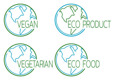 Set of vegan icons with globe outline. Information template for product labels and packing. Vector illustration Standard-Bild - 131847132