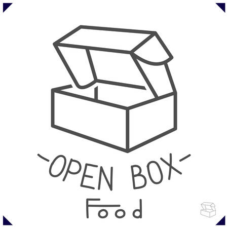 goods or food. Simple design for decor with open box. Vector illustration Çizim
