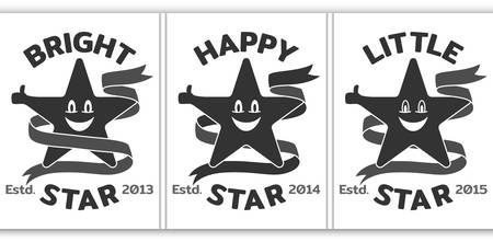 Emblem of smiled star with ribbon.  template for sport or kids clothes, t-shirt decor. Vector illustration
