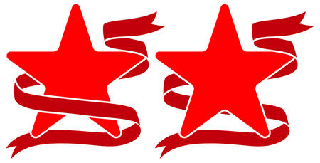 Emblem of red star with ribbon. template for sport clothes or award, t-shirt decor. Vector illustration