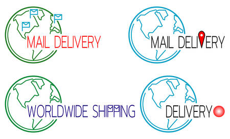 Mail delivery icons set with globe outline. Template for   postal logistics. Vector illustration