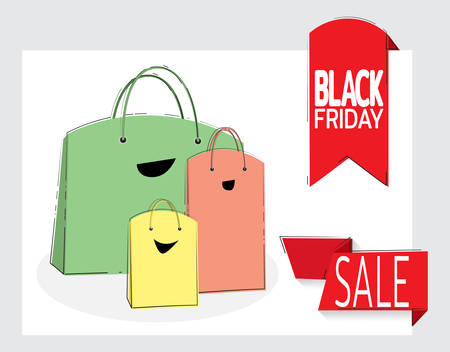 Big sale. Black Friday banner. Paper bags like a happy family. Purchase of goods at sales. Template for designers. Vector illustration