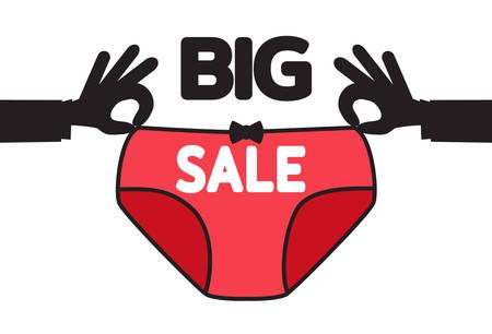 Big sale. Black Friday banner. Men hands hold women underpants. Poster for sales of lingerie. Template for designers. Vector illustration