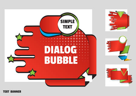 Set of banners red color for sales and promotions. Flat line art style. Paper origami speech bubble isolated on white for design of advertisement label, sticker. Dialogue banner for your message