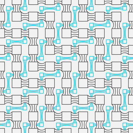 Abstract seamless geometric two levels pattern. Simple linear mosaic texture for background. Vector