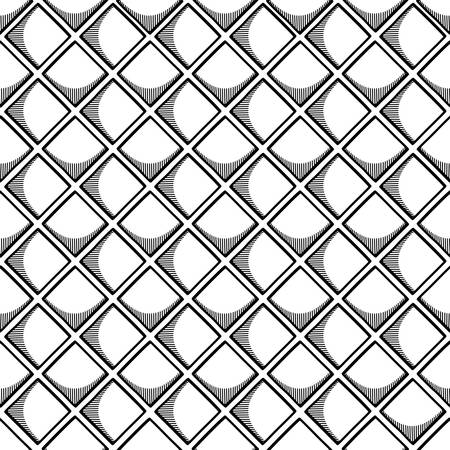 Abstract seamless geometric pattern with square elements. Simple black and white linear mosaic texture for background. Vector illustration