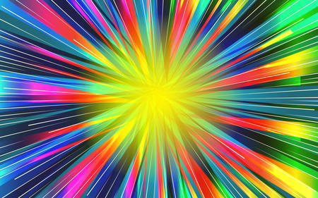 Festive background of bright colorful speed lines. Effect motion lines for comic book and manga. Radial rays from center of frame with effect explosion. Template for web and print design. Vector