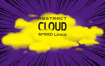 Clouds and speed lines. Bright background with space for text. Effect motion lines for comic book and manga. Radial rays with effect explosion. Template for web and print design. Vector