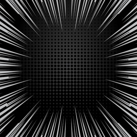 Speed lines and halftone background with space for text. Effect motion lines for comic book, manga. Radial rays with effect explosion. Template for web and print design. Black and white vector