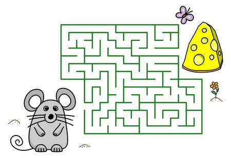 Maze game with cartoon mouse and cheese. Kids education. Color template design with pet on white background. Line art vector illustration