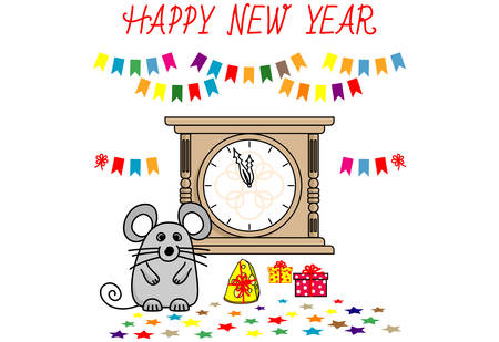 cute Mouse and New Year clock. Funny cartoon Christmas card. Isolated illustration white background. Chinese 2020 new year. Vector illustration