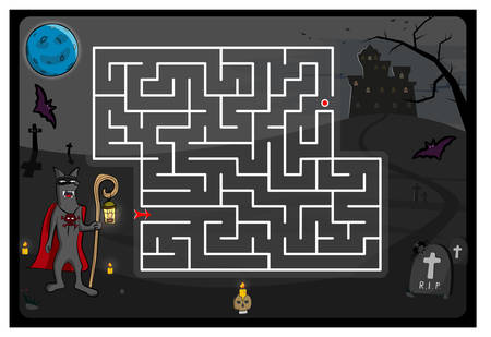 Maze game with cartoon wolf and castle, Helloween theme. Kids education. Color template design on dark background. Vector illustration 일러스트