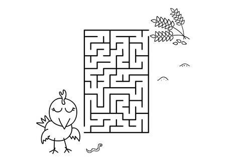 Black coloring pages with maze. Cartoon chicken and wheat. Kids education art game. Template design with pet on white background. Outline vector illustration Standard-Bild - 134755512