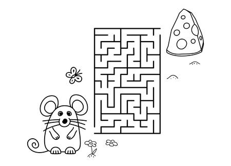 Black coloring pages with maze. Cartoon mouse and cheese. Kids education art game. Template design with pet on white background. Outline vector illustration