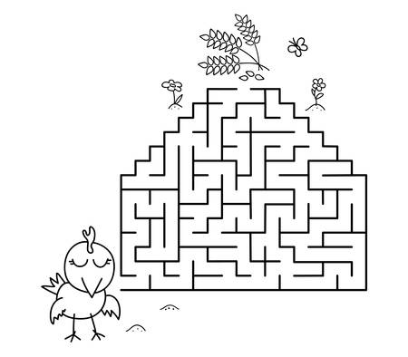 Black coloring pages with maze. Cartoon chicken and wheat. Kids education art game. Template design with pet on white background. Outline vector illustration Standard-Bild - 134755560