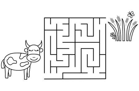 Black coloring pages with maze. Cartoon cow and grass. Kids education art game. Template design with pet on white background. Outline vector illustration