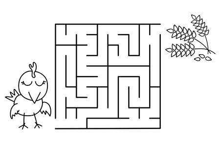 Black coloring pages with maze. Cartoon chicken and wheat. Kids education art game. Template design with pet on white background. Outline vector illustration Standard-Bild - 134755565
