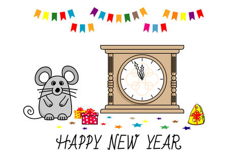 cute Mouse and New Year clock. Funny cartoon Christmas card. Isolated illustration white background. Chinese 2020 new year. Vector illustration Stock Vector - 134755570