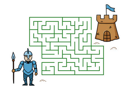 Maze game with cartoon knight and castle. Kids education. Color template design on white background. Line art vector illustration
