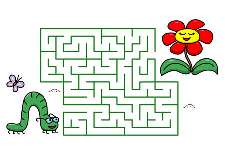 Maze game with cartoon caterpillar and flower. Kids education. Color template design with insect on white background. Line art vector illustration