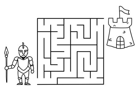 Black coloring pages with maze. Cartoon knight and castle. Kids education art game. Template design on white background. Outline vector illustration