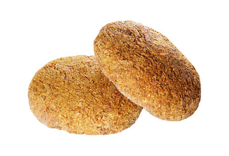 Oats cookies isolated on white background. Vegan diet homemade delicious pastries. For packaging design. Close up photo