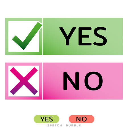 Yes No icons for websites or applications. Vote sign. Confirm Reject signs isolated on white. Vector illustration