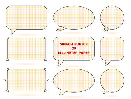 Speech bubble of millimeter paper grid. Engineer dialogue frame. Vector