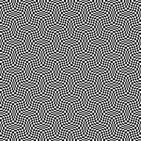 Abstract seamless geometric pattern with weave ornament. Simple black and white linear wavy striped texture. Vector illustration
