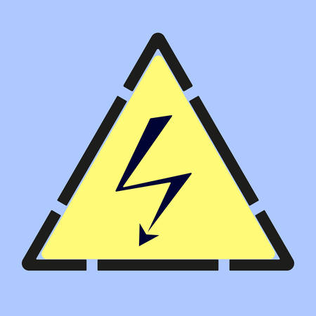 High Voltage sign printed on blue wall. Stylized as a manual stenciled execution. Vector