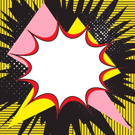 Boom-Pop-Art-Explosions-Sprechblase. Für Comics und Mangas. Textbanner. Vektor helle dynamische Karikaturillustration. Vorlagenposter für Ihr Design