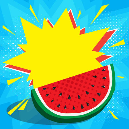 Boom pop art explosion speech bubble and juicy red watermelon in foreground. Mockup for comic book and manga. Text banner, poster. Vector bright dynamic cartoon illustration. Template for your design Иллюстрация