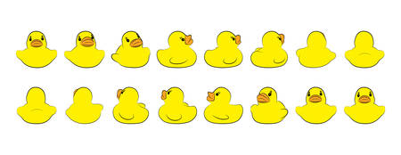 Set of yellow rubber ducks in different phase of rotation. Template for business design or kids. Vector illustration