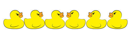 Yellow duck toy on white background. Business, Leadership, Teamwork or Friendship Concept. Vector illustration Ilustração