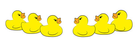 Yellow duck toy on white background. Business, Leadership, Teamwork or Friendship Concept. Vector illustration  イラスト・ベクター素材