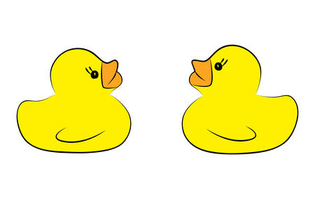 Yellow duck toy on white background. Business, Leadership, Teamwork or Friendship Concept. Vector illustration Vettoriali
