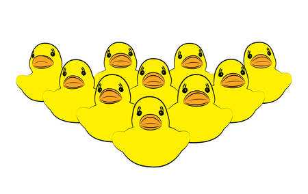 Yellow duck, focus on first, on white background. Business, Leadership, Teamwork or Friendship Concept. Vector illustration Illustration