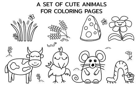 A set of cute farm animals. Templates for childrens Coloring Pages, books and education games. Vector illustration