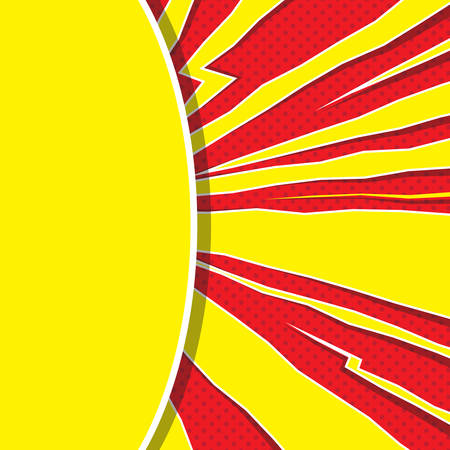 Speech bubble like yellow sun on red background. Pop art. Super heroic speed lines with explosion effect. Retro empty mockup for comic book and manga. Vector bright dynamic cartoon illustration Vectores