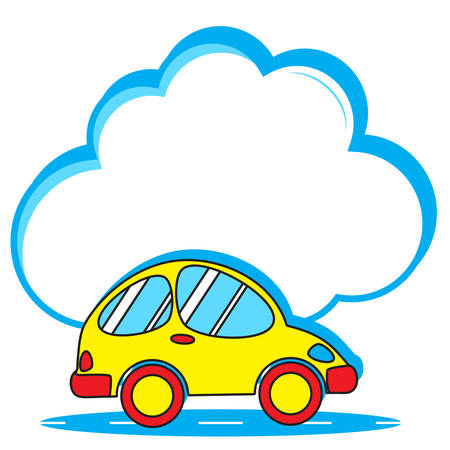 Cute yellow car and big empty speech bubble in form of blue cloud for your text. Advertising service delivery of goods and products. Summer travel hitchhiking. Family trips out of town to nature