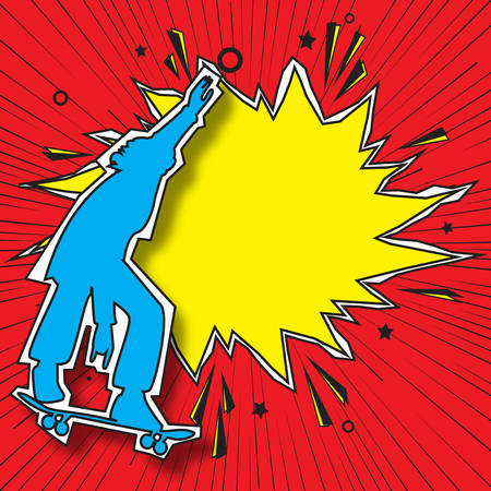 Silhouette of young guy skateboarder and hand drawn retro empty comic speech bubble. Boom pop art explosion. Template for your design. Summer fun for teens. Party invitation for friends