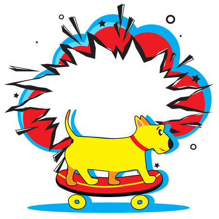 Retro empty comic speech bubble and cute dog rides on skateboard towards summer adventures. Boom pop art explosion. Vector bright cartoonish comics banner. Pop-art style. Template for your design